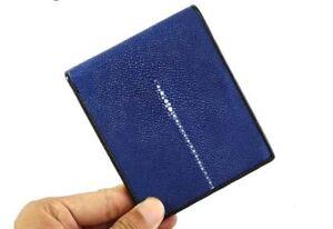 Free Shipping Stingray Leather Men's Bifold Wallet - Blue