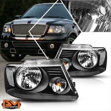 For 04-08 Ford F150 Pickup Black Housing Headlight Clear Side Corner Lamps Pair