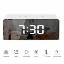LED Mirror Alarm Clock Digital Snooze Table Clock Wake Up Light Electronic Home