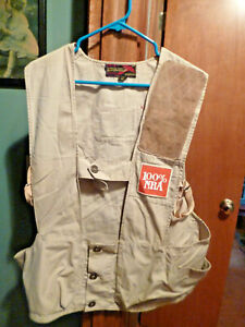 10X Beige Shooting Hunting Game Sportsman Vest NRA Patches Size 42 w/ Glove