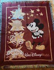 Walt Disney World Mickey Mouse Fringe Throw Blanket Magic Kingdom Animal Epcot