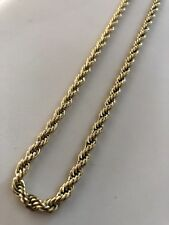 """Mens Rope Chain 14k Gold Over Stainless Steel Thick 24"""" 5mm Doesn't Change Color"""