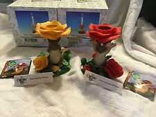 """Charming Tails """"Set Of 2 Floral Candleholders Maxine And Mackenzie"""" Fitz Floyd"""