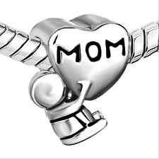 Retro Silver Love MOM Spacer Charm Bead Fit European Bracelet Necklace