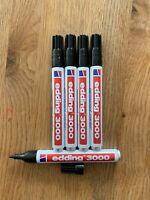 5 Edding 3000 schwarz Permanentmarker Rundspitze Marker 5er Set 5er Pack