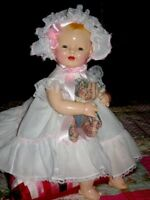 """DARLING 22"""" 1920s VINTAGE EIH HORSMAN BABY DIMPLES COMPOSITION & CLOTH DOLL"""