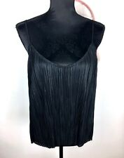 Witchery M black pleated women slip cami tank top shirt blouse basic sexy club