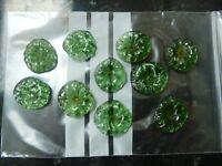 Lot de 10 Marguerites de lustre ancien en pâte de verre verte 424003A