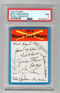 1973 TOPPS TEAM CHECKLIST NEW YORK METS - PSA 7 NM - Only 3 higher No 9s or 10s