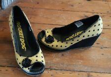Rocket Dog Yellow/ Black Polka Dot Peep Toe Wedge Shoes Size 6/ 39