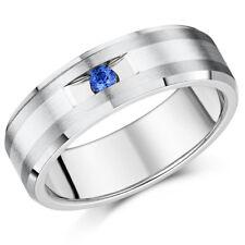 Titanium Ring & Blue Sapphire Flat Court Engagement Wedding 7mm Band