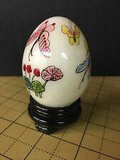 Vintage Marble Egg Butterfly Design Hand Painted on Wooden Stand