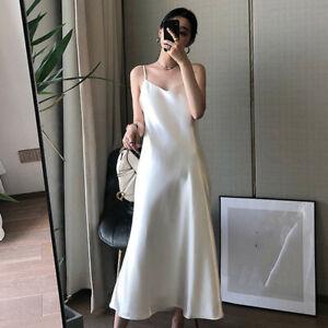 Women's V-neck Strap Dress Strappy Satin Slip Long Skirt Party Evening Dresses