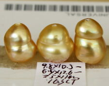 "12.6, 11, 10.5mm ""natural"" Australian golden south sea pearl 16.3CT"