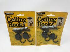 Lot Of 2 Vintage Stanley CD726 Black Rotating Ceiling Hooks (2 Packs 2 In Each)