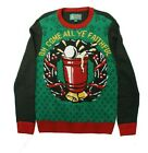 Ugly Christmas Sweater Men's Oh Come All Ye Faithful, Emerald [SMALL]