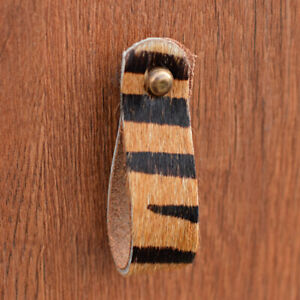 Tiger Print Leather Drawer Pull Door Handle   Natural Leather Loop Pull Knob
