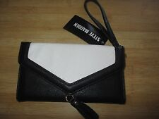 Steve Madden Trifold Tassel Wristlet Mini Purse ID Wallet $44 Retail Black Ivory