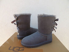 UGG GREY BAILEY BOW SUEDE/ SHEEPSKIN BOOTS, WOMENS US 5/ EUR 36  ~NEW