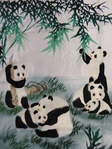 Handwoven Silk Chinese Embroidery - 10 Pandas (153 cm x 73 cm) #4