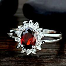 Classic Oval Cut Silver Plated Red Cubic Zirconia Ring Size P