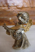 Old Rare Italy Hand Craft Carved Angels who plays guitar Silvered Figure Statue