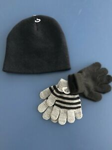 NEW Toddler 3T/4T FADED GLORY Striped Knit 2 PAIR Gloves Beanie Hat Black Gray