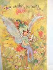 Vintage American Greetings CARD PIXIE GIRL FAIRY FLOWER GLITTER Wings MISS YOU