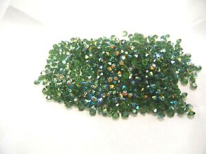144 preciosa squished spacer crystal beads,5x3mm green turmaline AB  SPECIAL