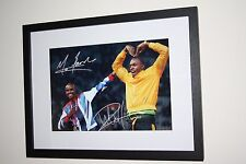"Usain Bolt/ Mo Farah Signed A4 Glossy Photo Mounted In 12""x16"" Inch Box Frame #2"
