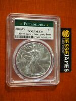 2020 (P) SILVER EAGLE PCGS MS70 EMERGENCY ISSUE STRUCK AT PHILADELPHIA LABEL