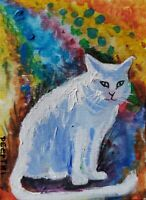 ACEO original miniature painting Acrylic Art ~ Ms. White.