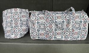 New! Vera Bradley Large Traveler Duffel & Ditty Bag In Lisbon Medallion