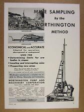 1940 Worthington Method Mine Sampling Equipment mining photo vintage print Ad