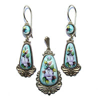 Parure en emaux, Boucles d'oreilles et Pendentif FINIFT Bijoux russe en email
