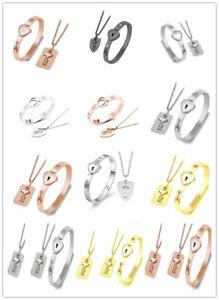Paar Stahl Love Heart Lock Armband Armreif Schlüssel Anhänger Halskette Geschenk
