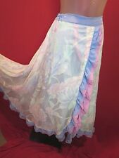 Pastel blue pink Floral Cascading Ruffles Silk Satin Swing full circle Skirt S