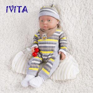 IVITA 16'' Full Body Silicone Reborn Baby Girl Dolls 2KG Realistic Silicone Doll