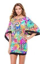 $144 New Trina Turk Balboa multicolor black trim Tunic Cover Up top Dress sz S