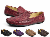 Mens Slip On Loafers Smart Crocodile Driving Shoes Casual Boat Moccasin UK Sizes