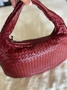 BOTTEGA VENETA Red Intrecciato Woven Nappa Leather Hobo Bag - 100% authentic