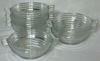 "6 Anchor Hocking MANHATTAN CRYSTAL *4 1/2"" CLOSED HANDLE DESSERT BOWLS*"