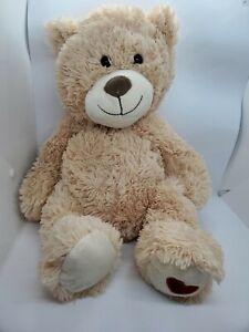 "Dan Dee Teddy Bear 19"" Cream Tan Red Heart on Feet Light Brown Super Soft 2015"