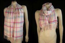 CHARTER CLUB 100% Cashmere Plaid White Pink Blue Scarf Muffler Fringe ~ NWT