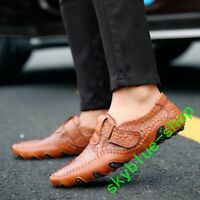 men's leather cowhide Driving Casual Business boots Loafer gommino flats Shoes