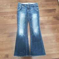 Gap 1969 Womens Flare Jeans Size 4/27 Medium Wash Light Distress Inseam 32