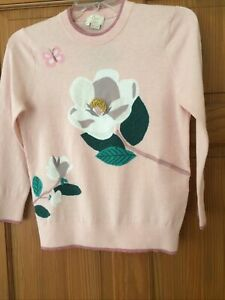 KATE SPADE NY Pink Floral Embroidered Crew Neck Sweater Size XS BNWT £250 - €295