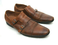 ALDO Mens 13 Brown Double Monk Strap Dress Casual Shoes Buckle Loafers Cap Toe