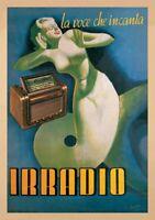 Irradio by Gino Boccasile Art Print Vintage Radio Poster Oversize 38x54