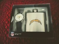 Game Time NFL SAN DIEGO CHARGERS WATCH + METAL FLASK GIFT SET NIB- FREE SHIPPING